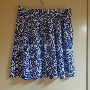 Blue and white swing skirt